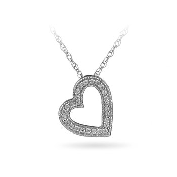 925 Sterling Silver and Diamond Floating Heart Pendant