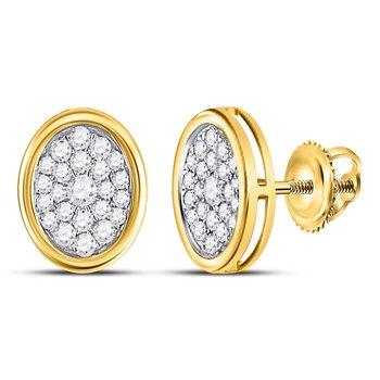 14kt Yellow Gold Womens Round Diamond Oval Cluster Earrings 1/2 Cttw