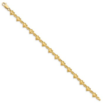 14k Satin Diamond-cut Heart with Arrow 7 inch Bracelet