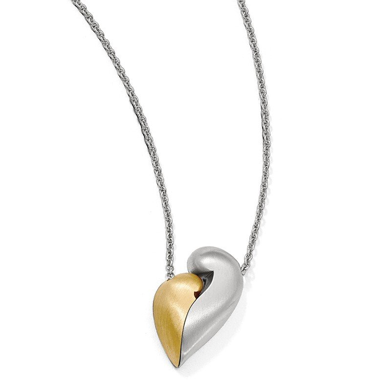 Quality Gold Sterling Silver Satin Gold-plated Magnetic Heart Adjustable Necklace