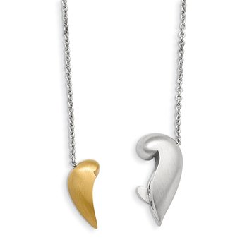 Sterling Silver Satin Gold-plated Magnetic Heart Adjustable Necklace
