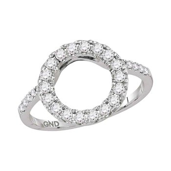 14kt White Gold Womens Round Diamond Circle Halo Wrap Ring Guard Enhancer 1/2 Cttw