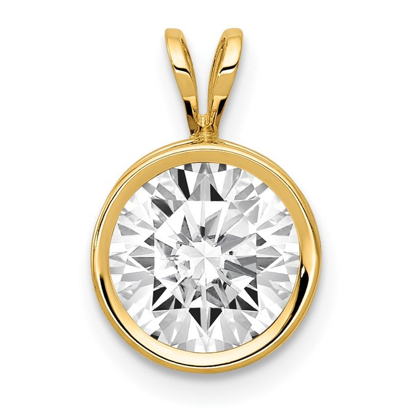 Arizona Diamond Center Collection 14k 8mm Cubic Zirconia bezel pendant