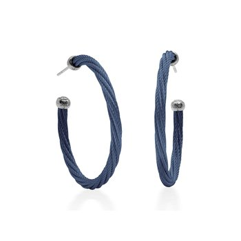 Blueberry Twisted Cable 1.5″ Hoop Earrings with 18kt White Gold