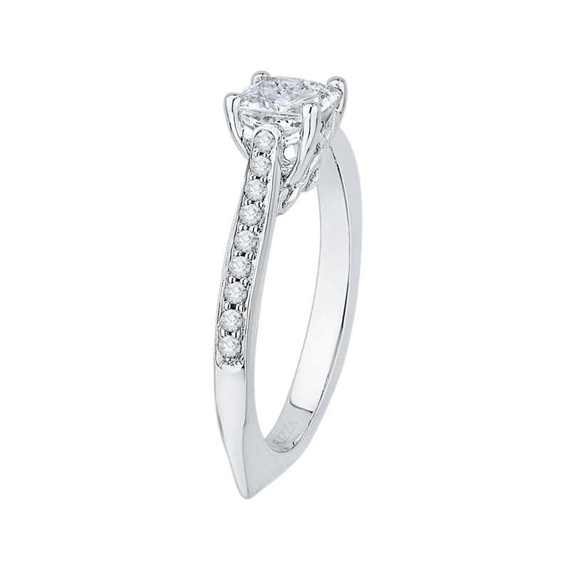 Carizza 14K White Gold Cushion Cut Diamond Solitaire with Accents Engagement Ring (Semi-Mount)