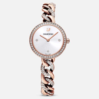 Cocktail Round Watch, Metal bracelet, Rose gold tone, Rose-gold tone PVD