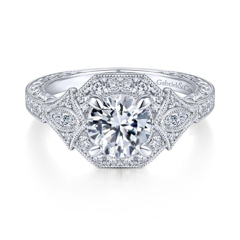Gabriel Bridal Art Deco 14K White Gold Round Halo Diamond Engagement Ring