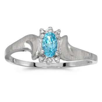 10k White Gold Oval Blue Topaz And Diamond Satin Finish Ring