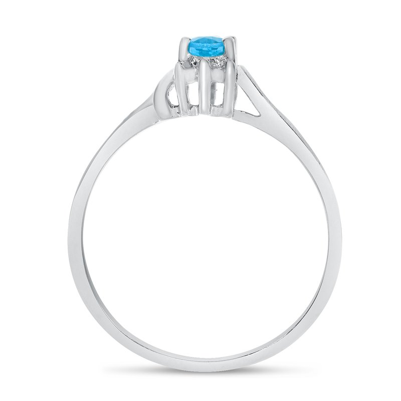 Color Merchants 10k White Gold Oval Blue Topaz And Diamond Satin Finish Ring