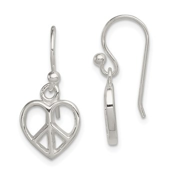 Sterling Silver Peace Sign Heart Shepherd Hook Earrings