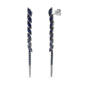 14K long drop earring with 56 blue Sapphires 1.35C & 16 Diamonds 0.07C