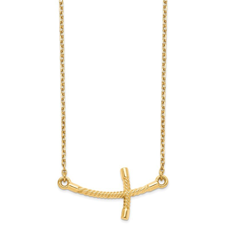 Quality Gold 14k Large Sideways Curved Twist Cross Necklace
