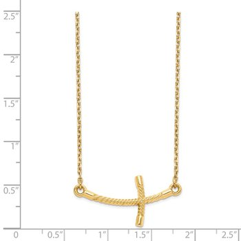 14k Large Sideways Curved Twist Cross Necklace