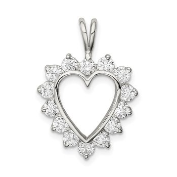 Sterling Silver Rhodium-plated CZ Heart Pendant