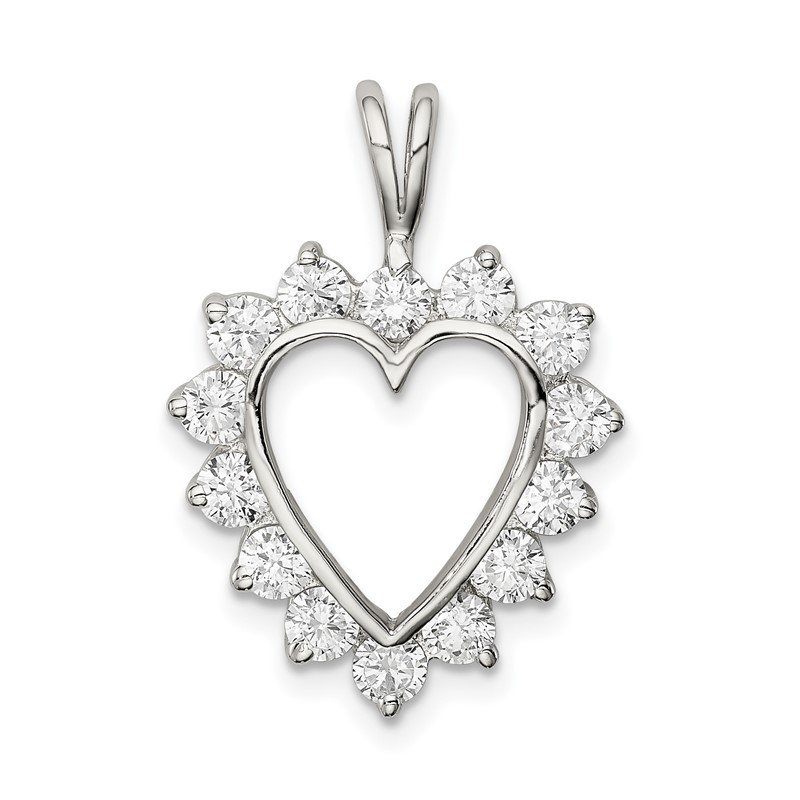 Arizona Diamond Center Collection Sterling Silver Rhodium-plated CZ Heart Pendant