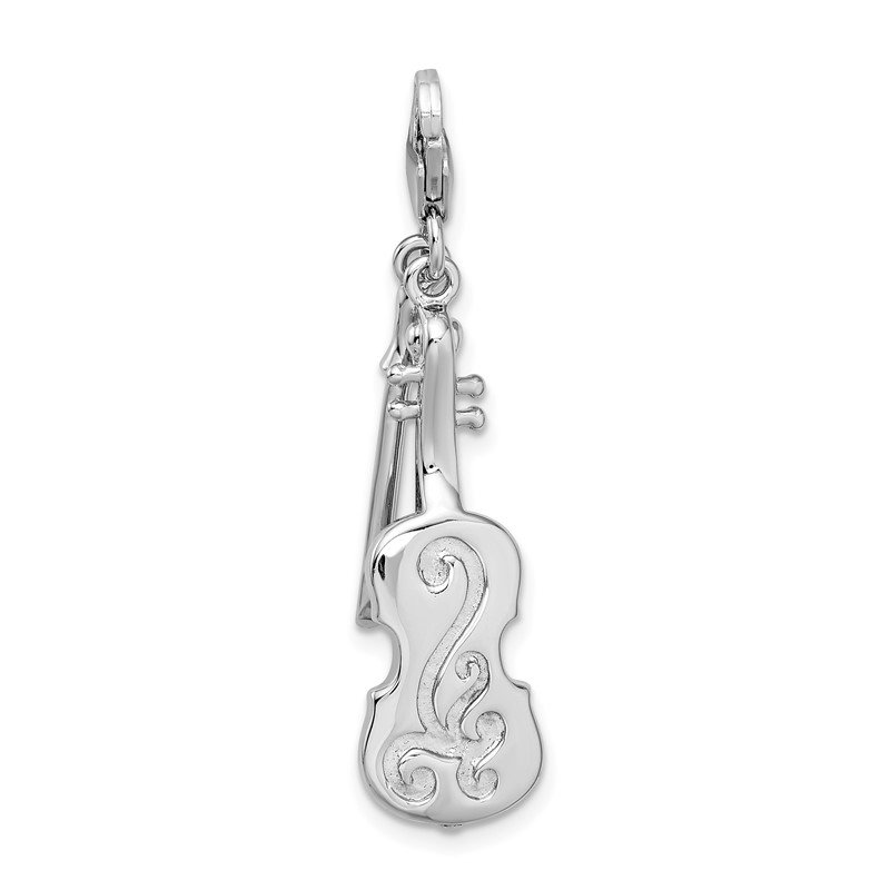 J.F. Kruse Signature Collection Sterling Silver Amore La Vita Rhodium-pl 3-D Violin Antiqued Bow Charm