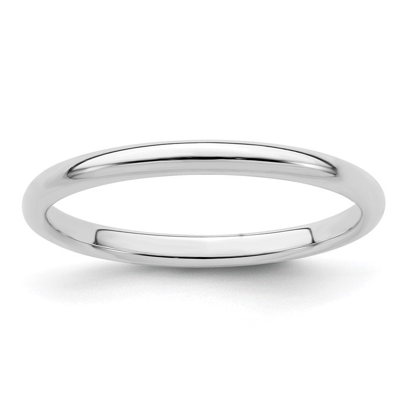 Quality Gold Sterling Silver Rhodium-plated 2mm Half-Round Band