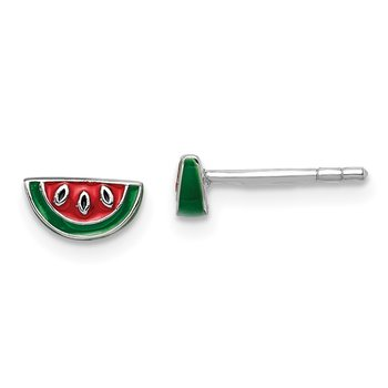 Sterling Silver Rhodium-plated Childs Enameled Watermelon Post Earrings
