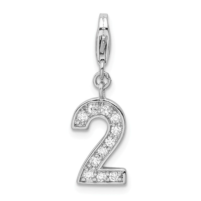 Quality Gold Sterling Silver CZ Numeral 2 w/Lobster Clasp Charm