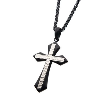 2 Tone Black Plated, Stainless Steel Hammered Gothic Cross Pendant