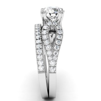 Antique Round Diamond Engagement Ring with Matching Wedding Band