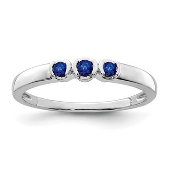 Sterling Silver Rhodium-plated Polished Sapphire Ring