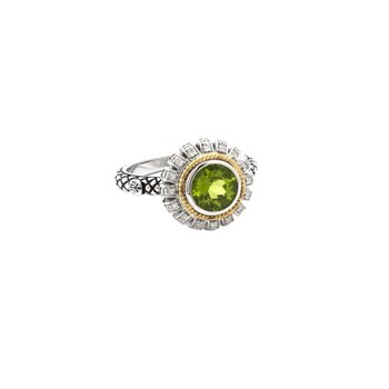 18kt & Sterling Silver Peridot Diamond Ring