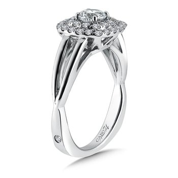 Double Cushion Halo Engagement Ring With Split Shank in 14K White Gold (1/2ct. tw.)