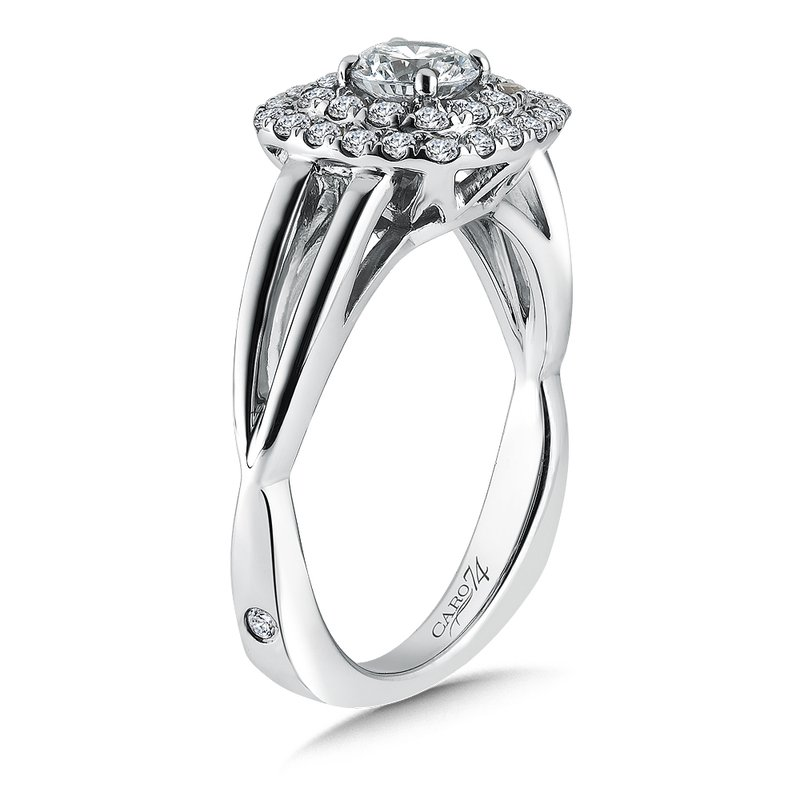 Caro74 Double Cushion Halo Engagement Ring With Split Shank in 14K White Gold (1/2ct. tw.)