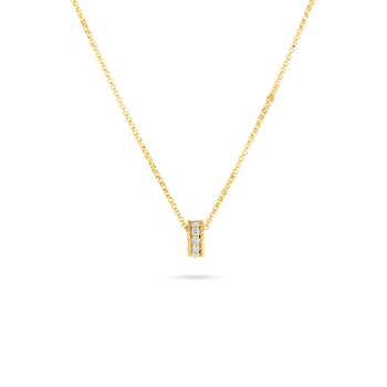 18Kt Gold Princess Rondel Pendant With Diamonds