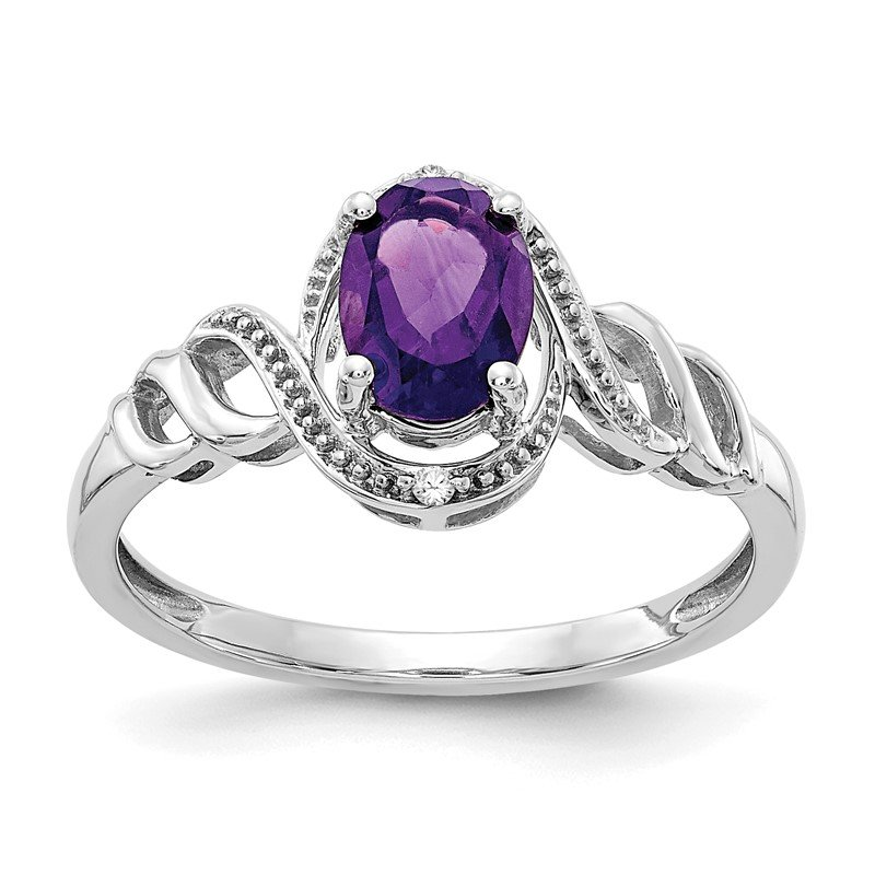 Quality Gold 10k White Gold Amethyst and Diamond Ring