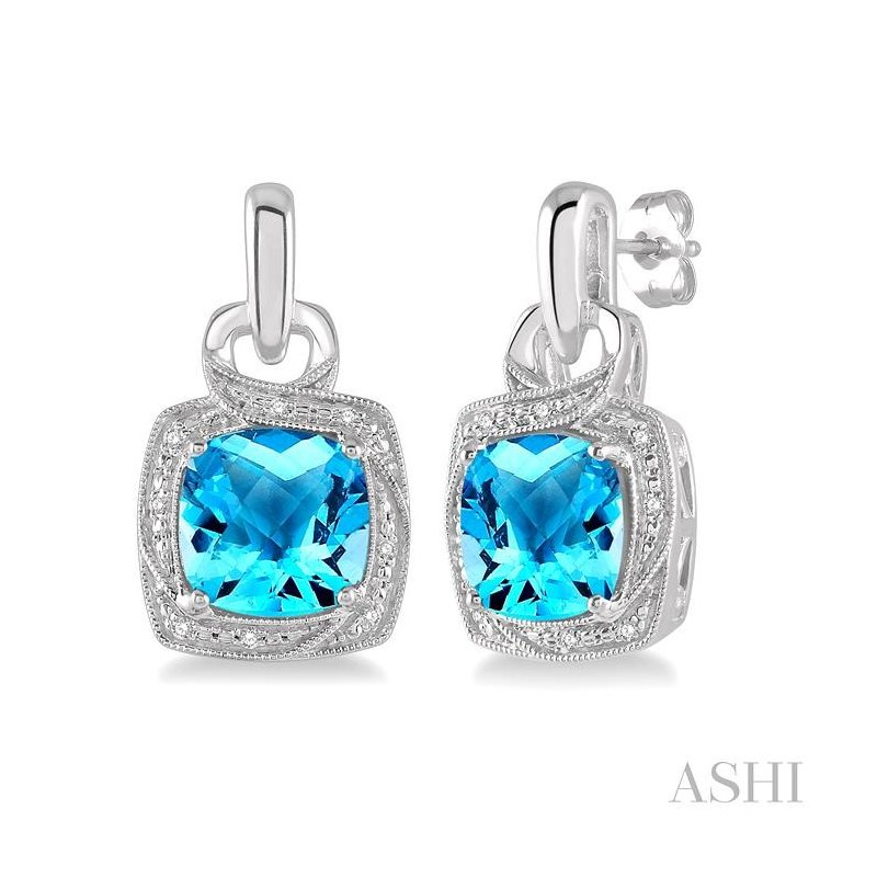 ASHI silver gemstone & diamond earrings