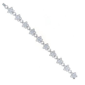 18KT GOLD DIAMOND FLOWER LINE BRACELET