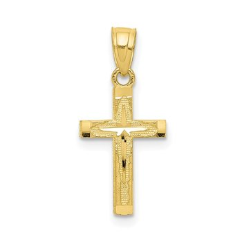 10k Diamond-Cut Cross Pendant