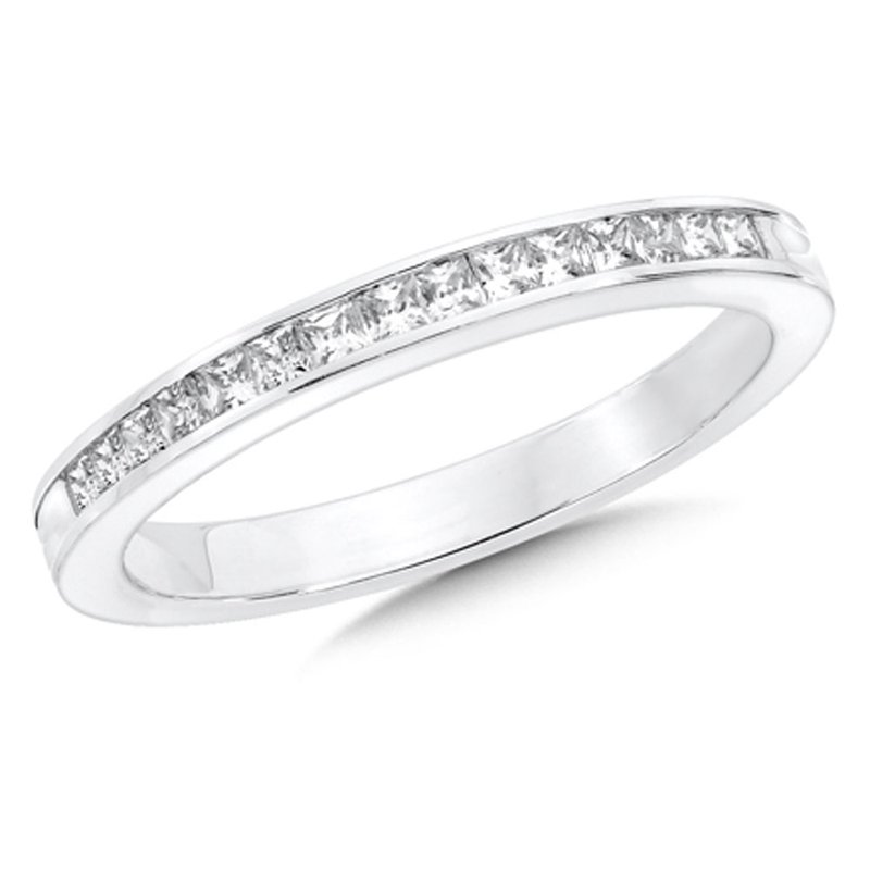SDC Creations Channel set Diamond Wedding Band 14k White Gold (1/5ct. tw.)