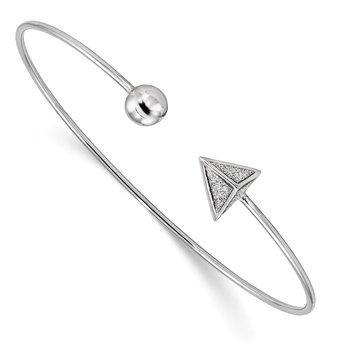Sterling Silver Rhodium-plated Glitter Enamel Triangle Flex Bangle
