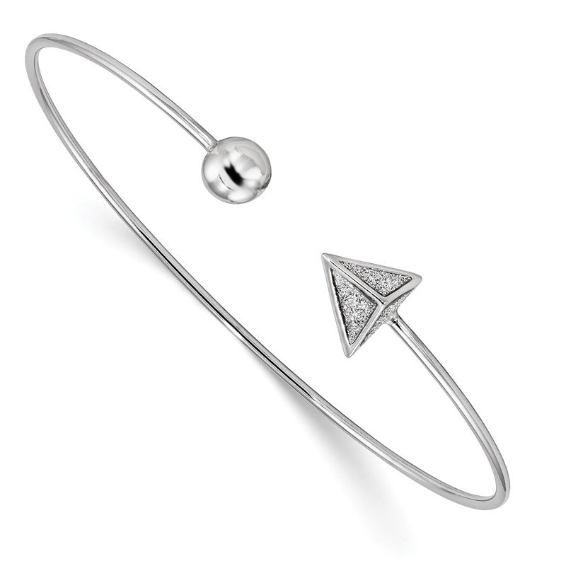 Quality Gold Sterling Silver Rhodium-plated Glitter Enamel Triangle Flex Bangle