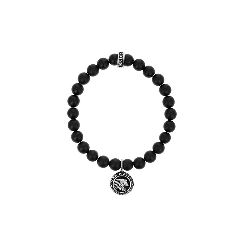 King Baby 8Mm Matte Onyx Beaded Bracelet W/ Indian Headdress Logo Charm