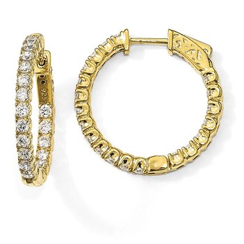 Sterling Silver Gold-tone CZ In & Out Round Hoop Earrings
