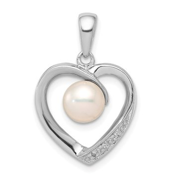 Sterling Silver Rhodium 6mm FW Cultured Pearl & Diamond Heart Pendant