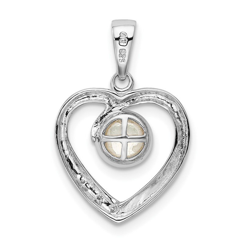 Quality Gold Sterling Silver Rhodium 6mm FW Cultured Pearl & Diamond Heart Pendant