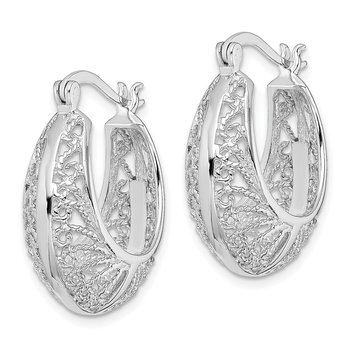 Sterling Silver Rhodium-plated Polished and Textured Hoop Earrings