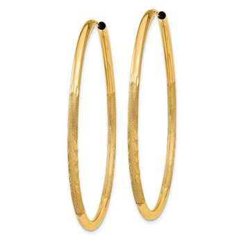 14k 2mm Satin Diamond-cut Endless Hoop Earrings