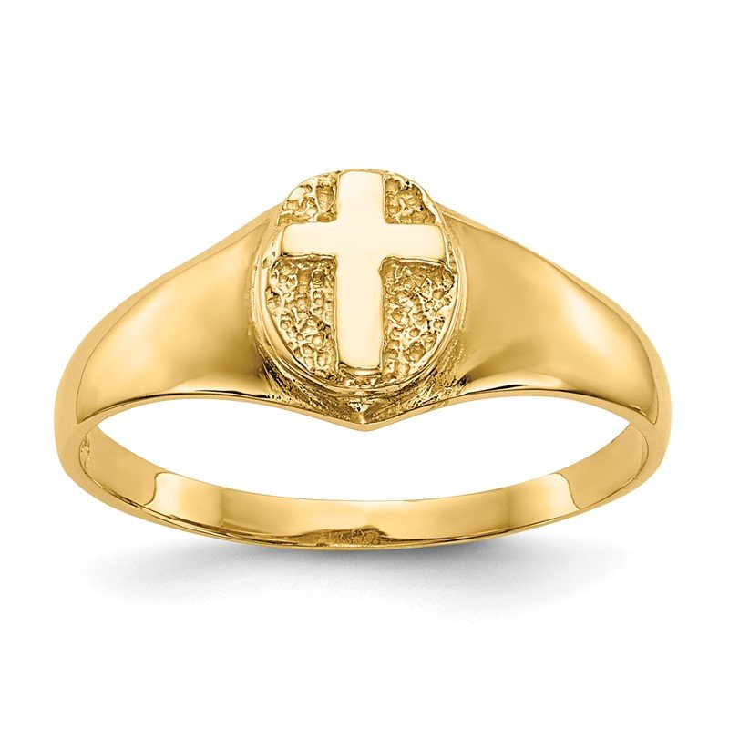 Quality Gold 14k Childs Polished Cross Ring
