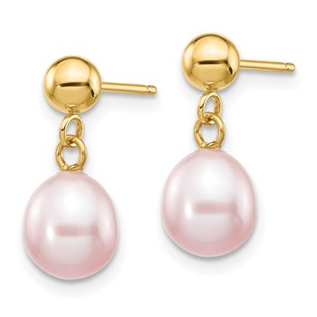 14k 6-7mm Purple Rice Freshwater Cultured Pearl Dangle Post Earrings