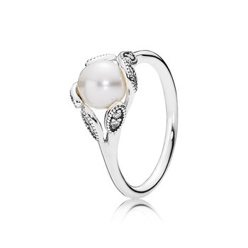 Luminous Leaves Ring, White Pearl & Clear CZ