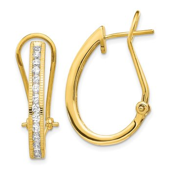 14k Gold Diamond Omega Back Hoop Earrings