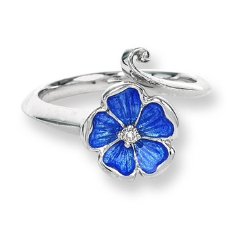 Blue Rose Ring.Sterling Silver-White Sapphire