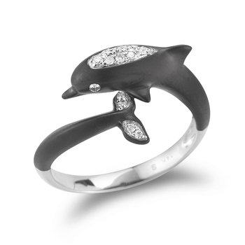 14K White Gold Dolphin Ring with 15 Diamonds 0.09CT & Black Rhodium 1/2 INCHES wide on top