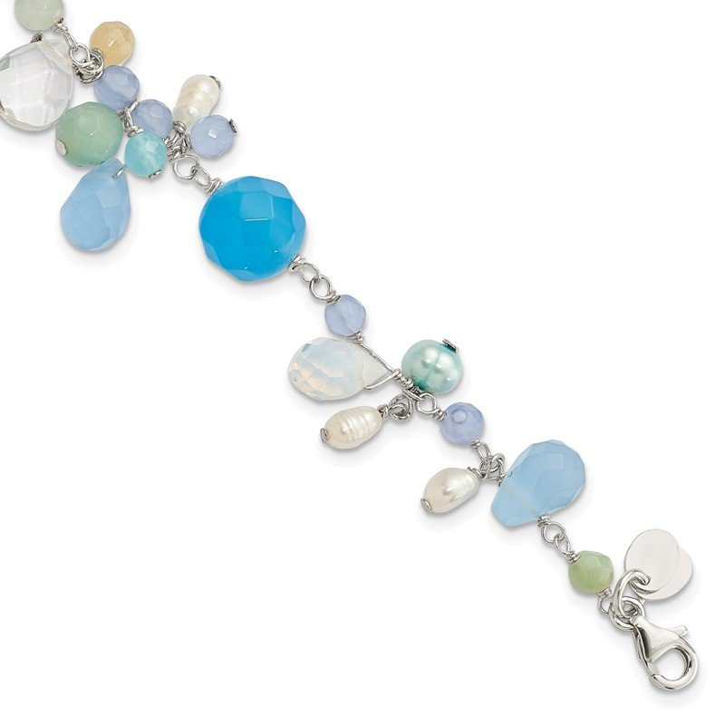 Quality Gold Sterling Silver Lace Agate/Opalite Crystal/Amazonite/FW Cult.Pearl Bracelet